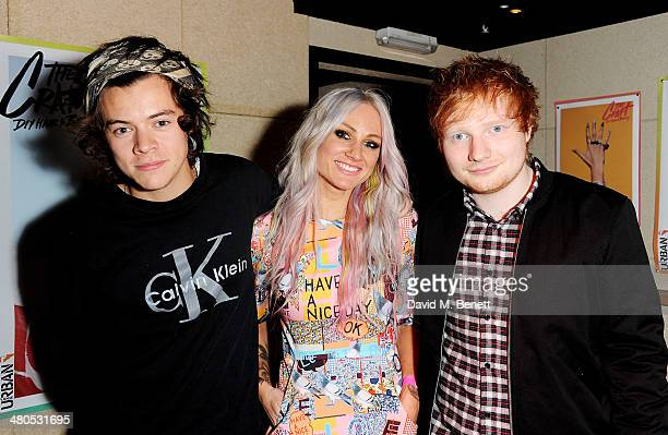 Harry Styles Lou Teasdale and Ed Sheeran attend the Fudge Urban Lou Teasdale Book Launch party on March 25 2014 in London United Kingdom