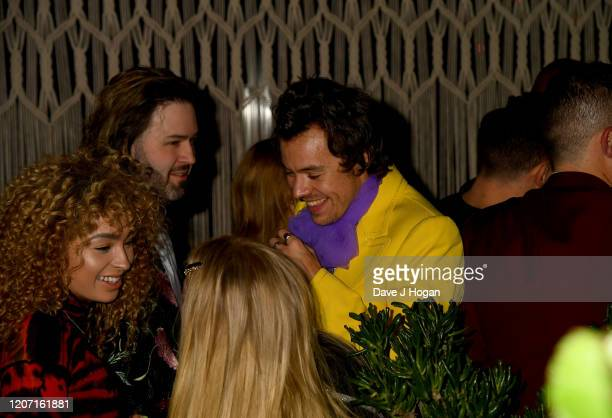 Harry Styles, Meghan Trainor and Ella Eyre attend the Sony BRITs after-party at The Standard on February 18, 2020 in London, England.