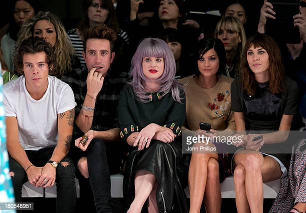 Harry Styles Nick Grimshaw Kelly Osbourne Leigh Lezark and Alexa Chung attends the House Of Holland show during London Fashion Week SS14 on September...
