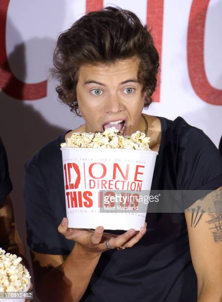 Harry Styles of One Direction attends a photocall to launch their new film 'one Direction: This Is Us 3D' on August 19, 2013 in London, England.