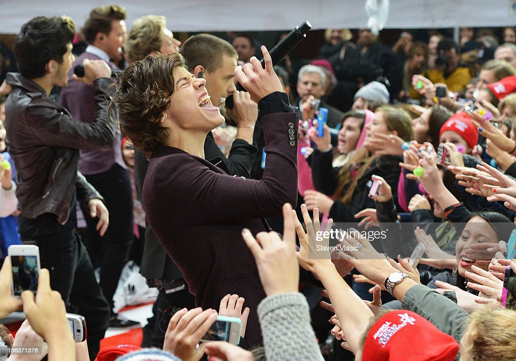 Harry Styles of One Direction perform on NBC's 'Today' at Rockefeller Plaza on November 13, 2012 in New York City.