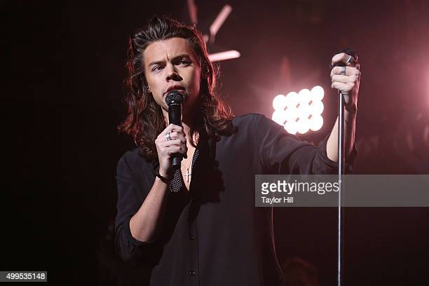 Harry Styles of One Direction performs during 1061 KISS FM's Jingle Ball at American Airlines Center on December 1 2015 in Dallas Texas
