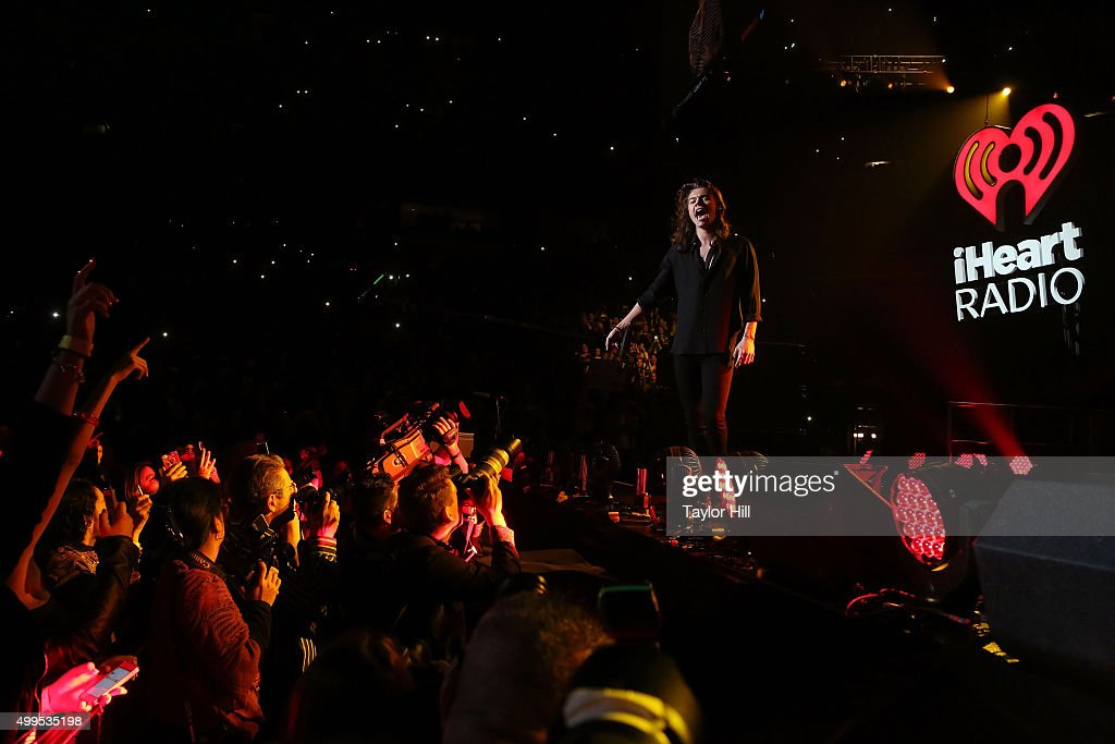 Harry Styles of One Direction performs during 106.1 KISS FM's Jingle Ball at American Airlines Center on December 1, 2015 in Dallas, Texas.