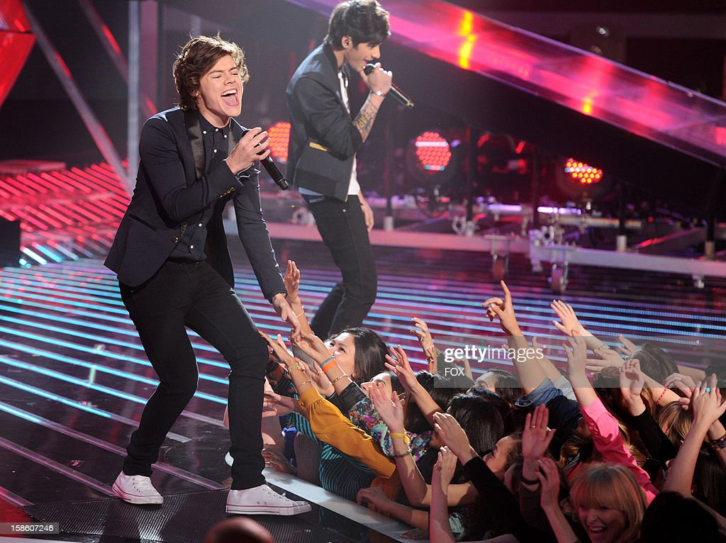 Harry Styles of One Direction performs during FOX's 'The X Factor' Season 2 Finale (8:00-9:00PM ET/PT) on FOX on December 20, 2012 in Hollywood, California.