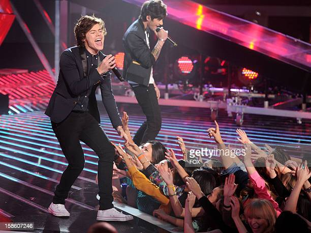 """Harry Styles of One Direction performs during FOX's """"The X Factor"""" Season 2 Finale on FOX on December 20, 2012 in Hollywood, California."""
