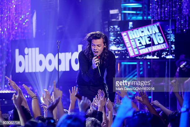 Harry Styles of One Direction performs onstage at Dick Clark's New Year's Rockin' Eve with Ryan Seacrest 2016 on December 31 2015 in Los Angeles CA