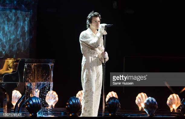 Harry Styles peforms during The BRIT Awards 2020 at The O2 Arena on February 18, 2020 in London, England.