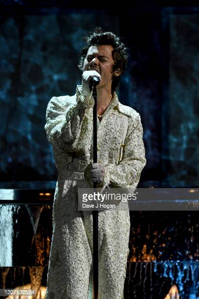 Harry Styles performs at The BRIT Awards 2020 at The O2 Arena on February 18, 2020 in London, England.