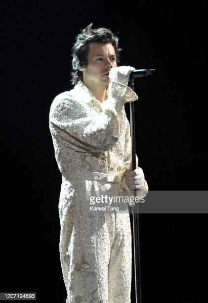 Harry Styles performs during The BRIT Awards 2020 at The O2 Arena on February 18, 2020 in London, England.