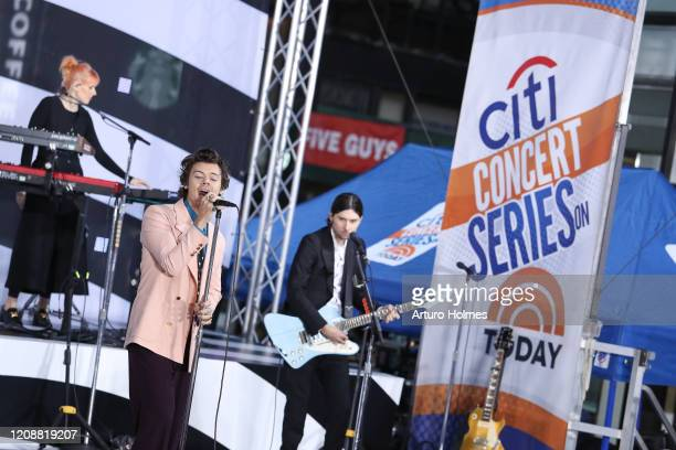 Harry Styles performs on NBC's Today during at Rockefeller Plaza on February 26 2020 in New York City