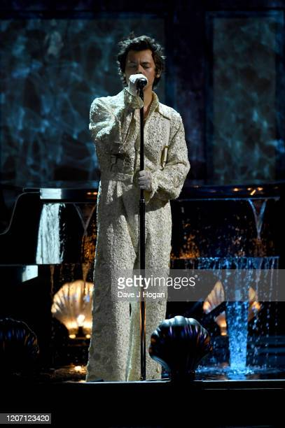 Harry Styles performs on stage at The BRIT Awards 2020 at The O2 Arena on February 18, 2020 in London, England.