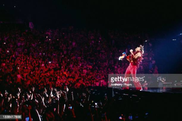 Harry Styles performs onstage during the tour opener for Love On Tour at MGM Grand Garden Arena on September 04, 2021 in Las Vegas, Nevada.