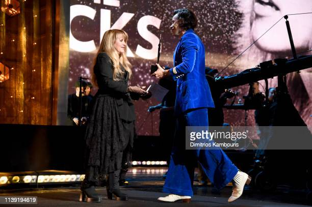 Harry Styles presents Inductee Stevie Nicks onstage at the 2019 Rock & Roll Hall Of Fame Induction Ceremony - Show at Barclays Center on March 29,...