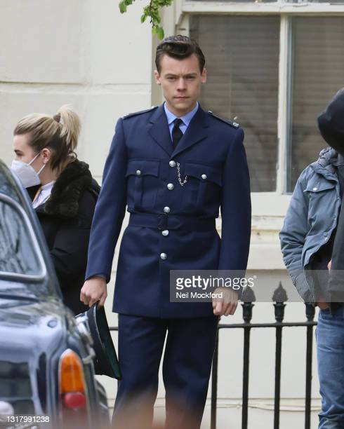 Harry Styles seen on the film set for 'My Policeman' on May 14, 2021 in Brighton, England.