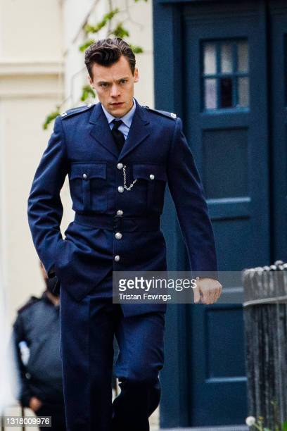 Harry Styles seen on the filmset for 'My Policeman' on May 14, 2021 in Brighton, England.
