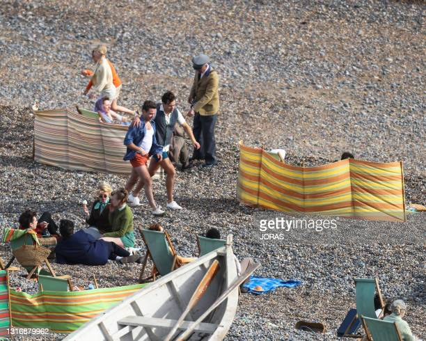 Harry Styles seen on the filmset for the 'My Policeman' on May 07, 2021 near Brighton, England.