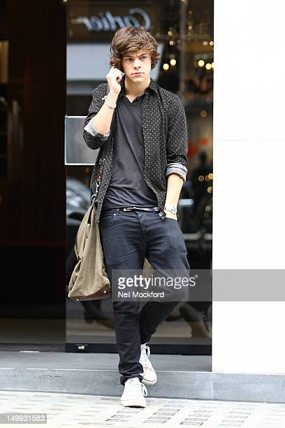 Harry Styles seen shopping at Dolce and Gabbana on Old Bond St on August 7 2012 in London England