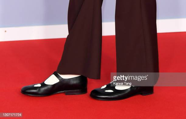 Harry Styles, shoe detail, attends The BRIT Awards 2020 at The O2 Arena on February 18, 2020 in London, England.