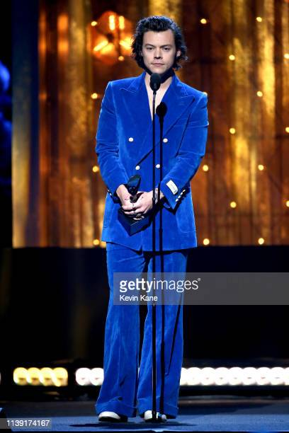 Harry Styles speaks onstage at the 2019 Rock Roll Hall Of Fame Induction Ceremony Show at Barclays Center on March 29 2019 in New York City