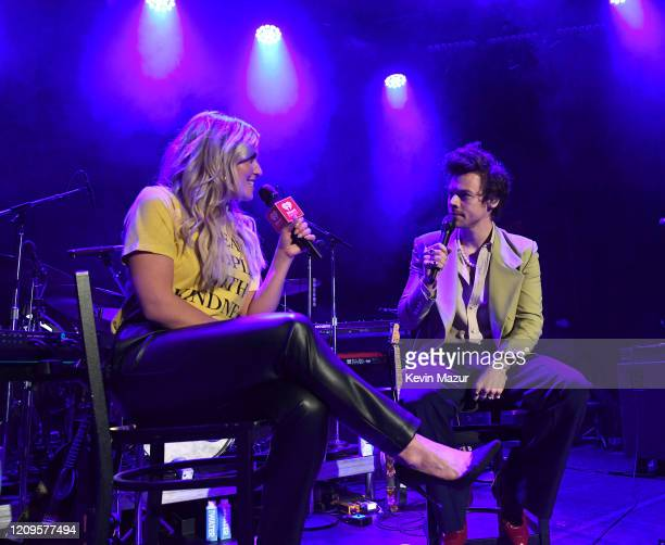 Harry Styles speaks with host Tanya Rad at iHeartRadio Secret Session with Harry Styles at the Bowery Ballroom on February 29 2020