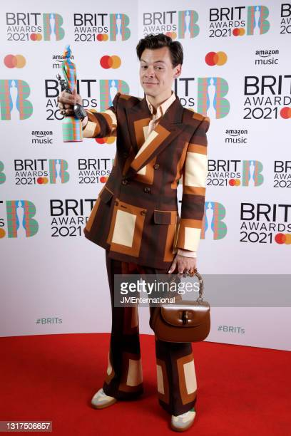 Harry Styles wins the Mastercard British Single award for Watermelon Sugar during The BRIT Awards 2021 at The O2 Arena on May 11, 2021 in London,...