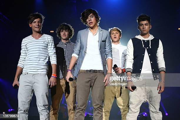 Harry Styles Zain Malik Louis Tomlinson Liam Payne and Niall Horan of One Direction perform at the BBC Teen Awards at Wembley arena on October 9 2011...