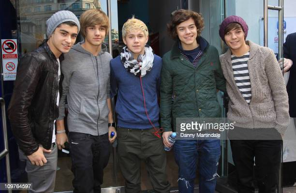 Harry Styles Zayn Malik Louis Tomlinson Niall Horan and Liam Payne of One Direction attend Heart Radio's annual Have A Heart Appeal fundraising day...