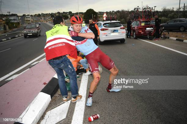 Harry Tanfield of Great Britain and Team Katusha Alpecin / Thomas Boudat of France and Team Direct Energie / Peio Goikoetxea of Spain and Team...