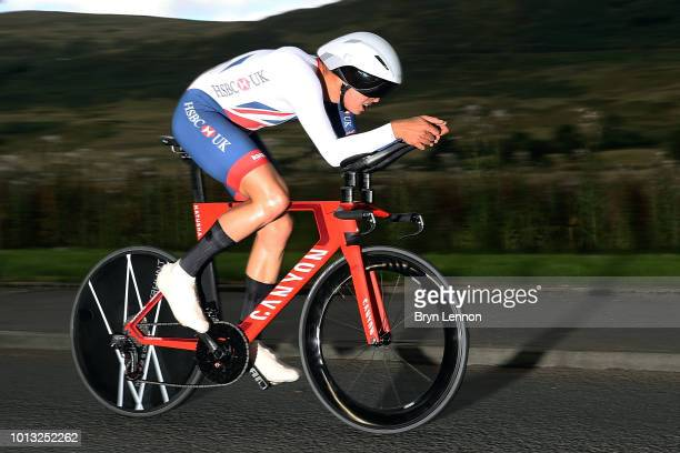 Harry Tanfield of Great Britain in action in the Men's Road Cycling on Day Seven of the European Championships Glasgow 2018 at Glasgow Cycling TT...
