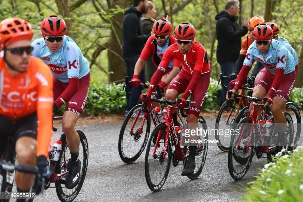 Harry Tanfield of United Kingdom and Team Katusha Alpecin / Steff Cras of Belgium and Team Katusha Alpecin / Nathan Haas of Australia and Team...