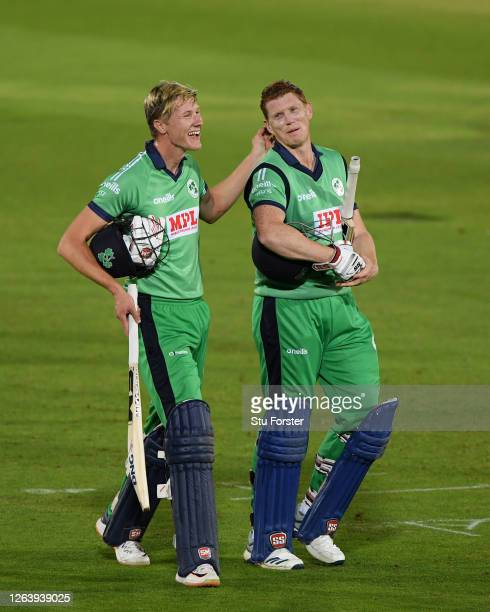Harry Tector and Kevin O'Brien of Ireland walk off after victory in the Third One Day International between England and Ireland in the Royal London...