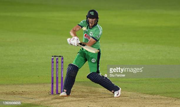 Harry Tector of Ireland attempts to ramp during the Third One Day International between England and Ireland in the Royal London Series at Ageas Bowl...