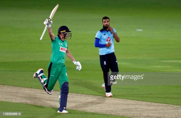 Harry Tector of Ireland celebrates victory watched on by Saqib Mahmood of England during the Third One Day International between England and Ireland...