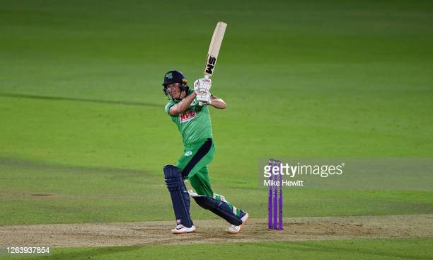 Harry Tector of Ireland hits out during the Third One Day International between England and Ireland in the Royal London Series at Ageas Bowl on...