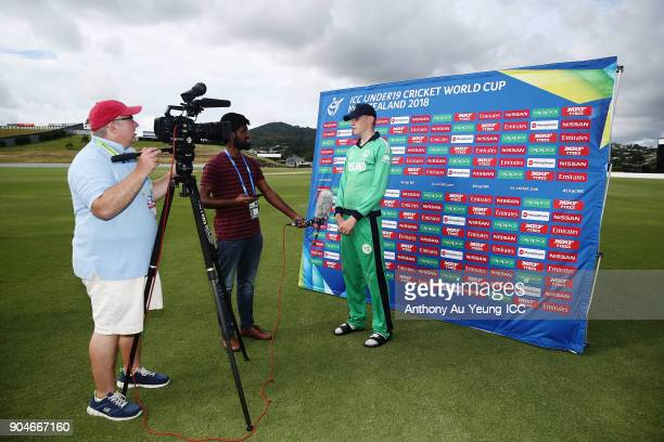 Harry Tector of Ireland is interviewed after the ICC U19 Cricket World Cup match between Sri Lanka and Ireland at Cobham Oval on January 14 2018 in...