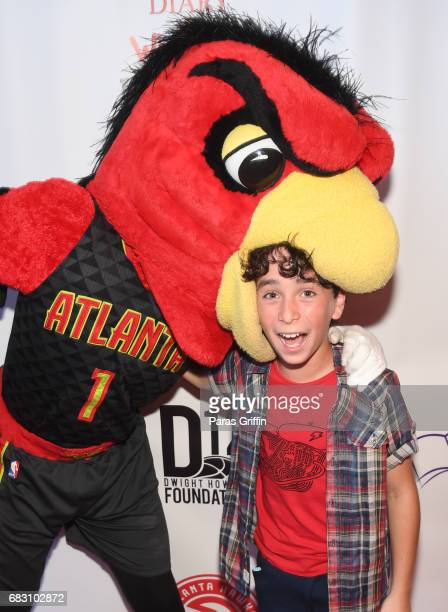 """Harry The Hawk and actor Jason Drucker attends """"Diary Of A Wimpy Kid: The Long Haul"""" Atlanta screening hosted by Dwight Howard at Regal Atlantic..."""
