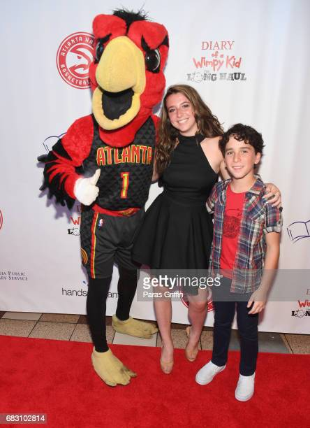 """Harry The Hawk and Jason Drucker attend """"Diary Of A Wimpy Kid: The Long Haul"""" Atlanta screening hosted by Dwight Howard at Regal Atlantic Station on..."""