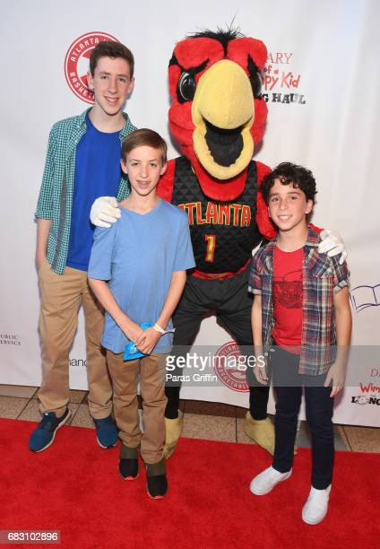 Harry The Hawk and Jason Drucker attend Diary Of A Wimpy Kid The Long Haul Atlanta screening hosted by Dwight Howard at Regal Atlantic Station on May...