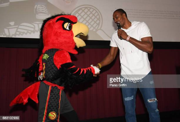 """Harry The Hawk and NBA Player Dwight Howard attend """"Diary Of A Wimpy Kid: The Long Haul"""" Atlanta screening hosted by Dwight Howard at Regal Atlantic..."""