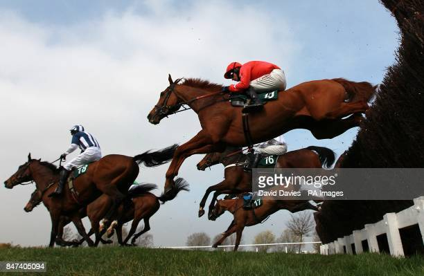 Harry The Viking ridden by William Biddick clears a fence behind Teaforthree ridden by J T McNamara during the Diamond Jubilee National Hunt Chase on...