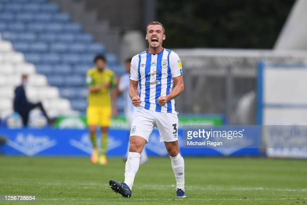 Harry Toffolo of Huddersfield Town celebrates following his sides victory in the Sky Bet Championship match between Huddersfield Town and West...