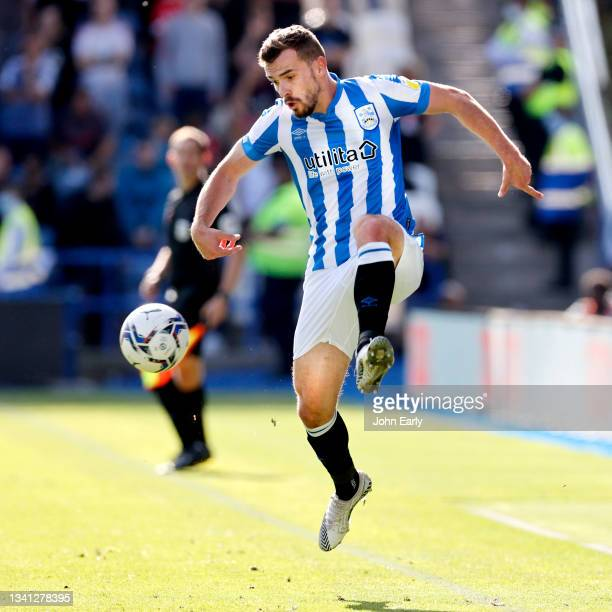 Harry Toffolo of Huddersfield Town during the Sky Bet Championship match between Huddersfield Town and Nottingham Forest at Kirklees Stadium on...