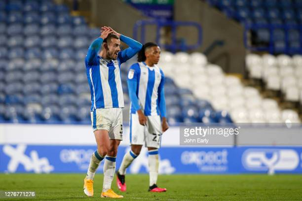 Harry Toffolo of Huddersfield Town reacts after winning the game during the Sky Bet Championship match between Huddersfield Town and Nottingham...