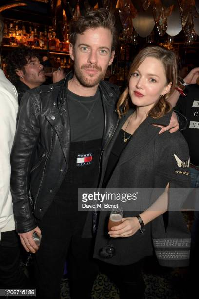 Harry Treadaway and Holiday Grainger attend the TOMMYNOW after party at Annabels on February 16 2020 in London England