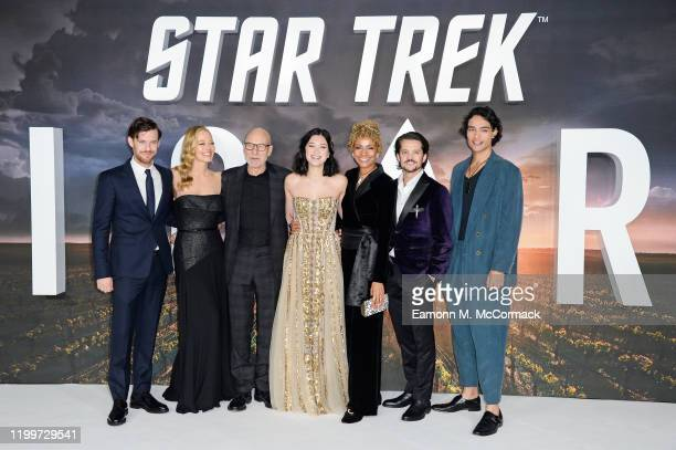 Harry Treadaway Jeri Ryan Sir Patrick Stewart Isa Briones Michelle Hurd Jonathan Del Arco and Evan Evagora attend the Star Trek Picard UK Premiere at...
