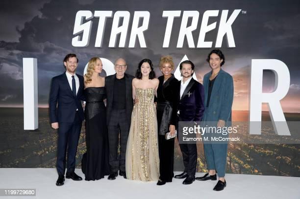 "Harry Treadaway, Jeri Ryan, Sir Patrick Stewart, Isa Briones, Michelle Hurd, Jonathan Del Arco and Evan Evagora attend the ""Star Trek Picard"" UK..."