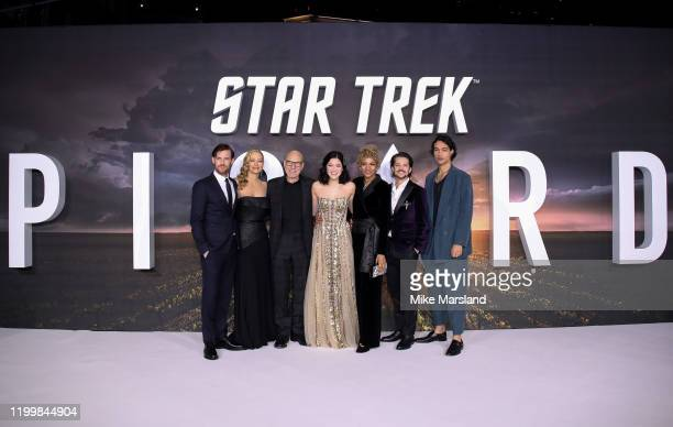 Harry Treadaway Jeri Ryan Sir Patrick Stewart Isa Briones Michelle Hurd Jonathan Del Arco and Evan Evagora attend the Star Trek Picard UK Premiere at...