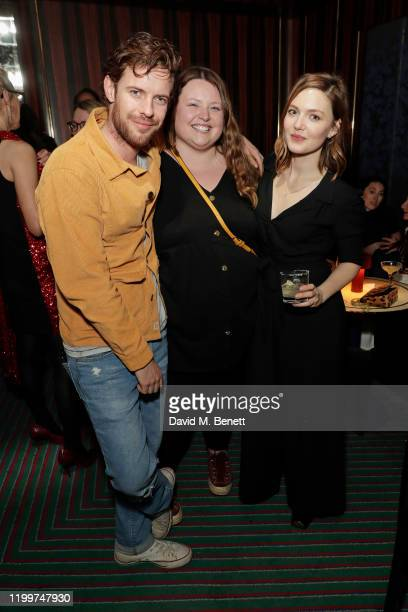 Harry Treadaway Leah Gasson and Holliday Grainger attend the Platform Presents Poetry Gala 2020 after party in the Dragon Room at Isabel Mayfair on...