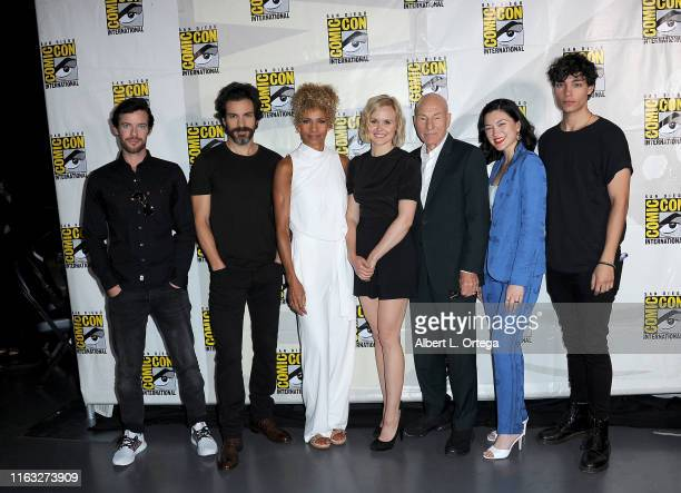 Harry Treadaway Santiago Cabrera Michelle Hurd Alison Pill Patrick Stewart Isa Briones and Evan Evagora attend the Enter The Star Trek Universe Panel...