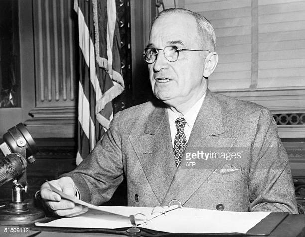 Harry Truman the 33rd President of the USA addresses media in 1945 in Washington DC